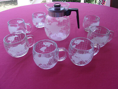 Vintage Nestles 1970's Clear Glass Globe World Pot & 7 Cups/Mugs Set, VGC