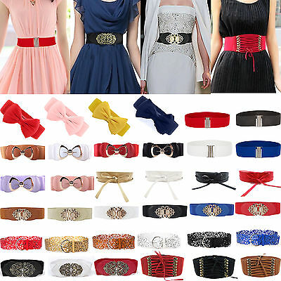 Womens Retro Stretch Buckle Waist Belt Bow Wide Elastic Corset Cinch Waistband