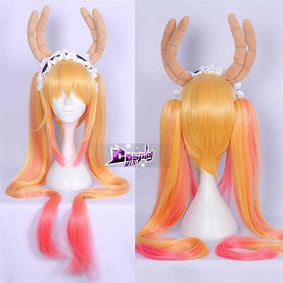 "Miss Kobayashi's Dragon Maid Tohru 36"" Lang Ombre Anime Cosplay Wig Ponytails"