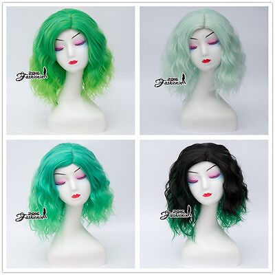 Harajuku Lolita Ombre Mixed Green Curly Party Women Cosplay Wig Heat Resistant