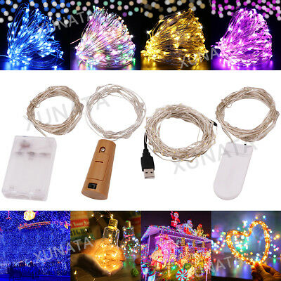 20/50/100 LED Fairy String Lights Battery/USB Micro Rice Wire Party Xmas Decor