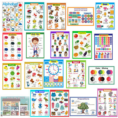 CHILDREN LEARNING EDUCATIONAL POSTER WALL CHART - Numbers/ Colors/ Objects