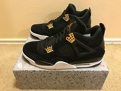 cd974f150085 NIKE AIR JORDAN 4 Retro Men s Sz 12 Black metallic Gold-White 308497 ...