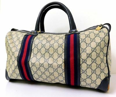 35f48ef9b35 Auth GUCCI Sherry Line GG Monogram Travel Boston Hand Bag Satchel Purse  Luggage