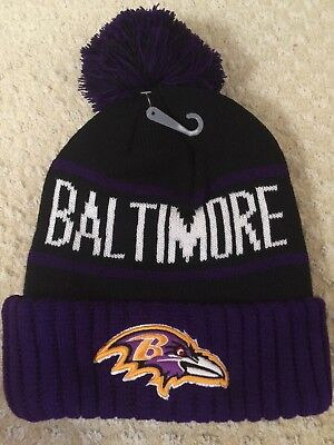 38b359ea3e8 New NFL Baltimore Ravens winter skull hat Black Purple City embroidery pom