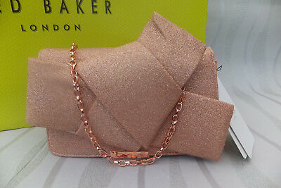 c4b4bc3de Ted Baker Ladies Rose Gold FEFEE Knot Bow Evening Clutch Wallet Purse Bag  BNWT