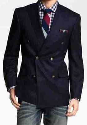 Mens Stylish Double Breast Blue Jacket Wedding Dinner Business Party Coat Blazer