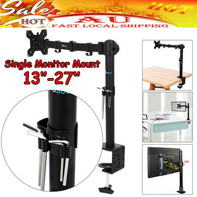"Single Arm Desk Mount LCD LED Computer Monitor Bracket Stand 13-27"" Screen TV AU"