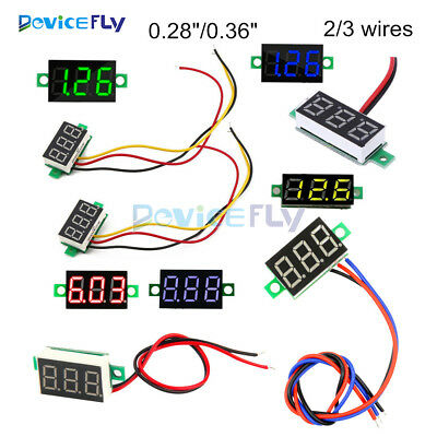 "0.28"" 0.36"" 2/3 Wire LED Digital Voltmeter Gauge Voltage Detector Panel Meter"