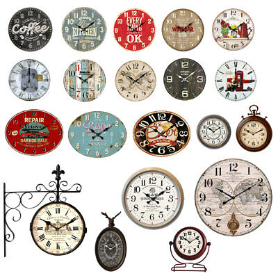 Vintage Retro Shabby Antique Metal Wood Time Display Car Kitchen Wall