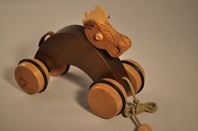 Horse Baby pull toy in solid Wood Green ecological birth gift made in France