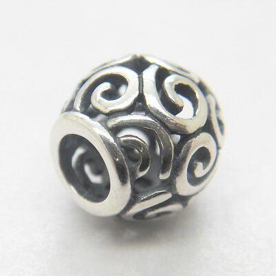 Beautiful Authentic Sterling Silver Openwork Ocean Breeze Swirl Charm Bead New