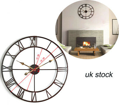 Large Outdoor Garden Wall Clock Big Roman Numerals Giant Open Face Metal 58Cm Uk