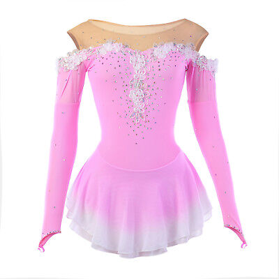 Girls Competition Ice Figure Skating Dress/Dance/Baton Twirling Pink Lace Show
