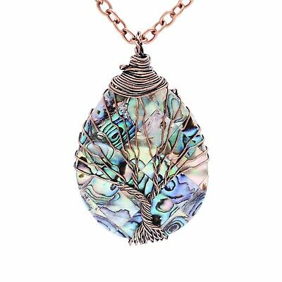 sedmart Tree of life pendant Amethyst Rose Crystal Necklace Gemstone Chakra Jewe