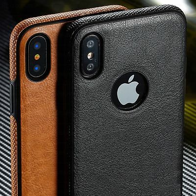 SLIM Luxury Leather Back Ultra Thin TPU Case Cover for iPhone Xs & 8/7/6s Plus