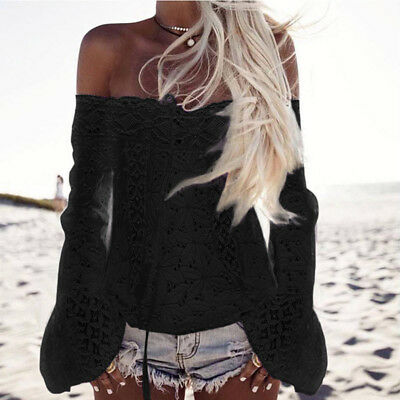 Womens Summer Off Shoulder Shirt Long Sleeve Casual  Lace Up Tops Blouse