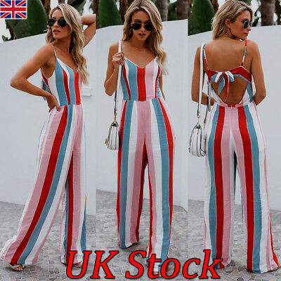 UK Women Ladies Summer V-neck Backless Sling Long Jumpsuit Casual Strip Playsuit