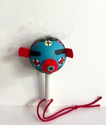 Hopi Kachina Dance Rattle Ornament Small Baby Rattle Painted Felt Feather