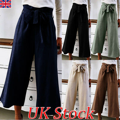 Womens Wide Leg High Waist Casual Summer Pants Loose Culottes Trousers Size 8-22