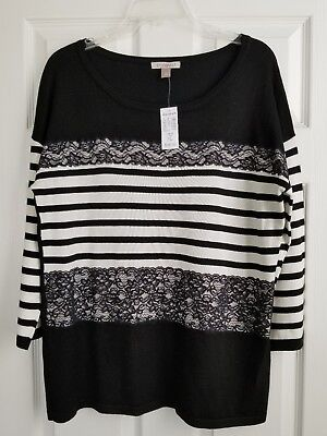 58d4f6b2621 ⚘ROZ   ALI (Dressbarn) Nwt Lace Trim Sweater Top Sz Xl ~Black white ...