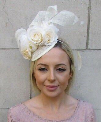 Cream Sinamay Rose Flower Feather Pillbox Hat Fascinator Races Hair Wedding 5943
