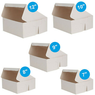 Pack of 100 x Cake Boxes Fold Flat White Square Cardboard Box Cakes Cupcakes