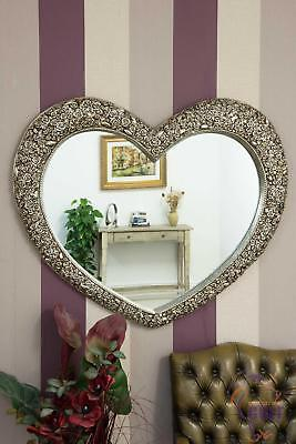 Very Large Antique Silver Heart Shaped Wall Mirror 3ft1x3ft7 (94cmx109cm)