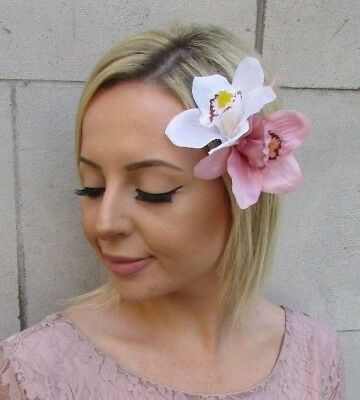Double White Blush Light Pink Orchid Flower Hair Clip Fascinator 40s 1950s 5946
