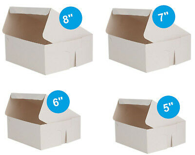Pack of 250 x Cake Boxes Fold Flat White Square Cardboard Box Cakes Cupcakes