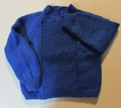 SWEATER for BOYS  or GIRLS ROYAL BLUE   Hand Knitted  2-3 years