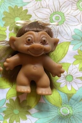 TROLL Made In Hong along Doll Brown Hair Vintage Toy