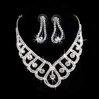 Jewelry Sets Silver Crystal Wedding Bridal Prom Rhinestone Necklace Earrings