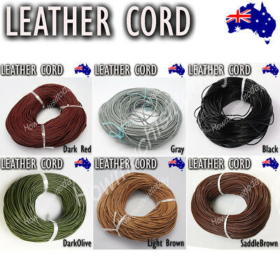 2mm Genuine Round Leather Cord Cowhide Hide String Thread Findings Jewellery