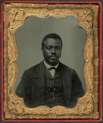 African American Black Man Red Lips Bright Cased Tintype Photo