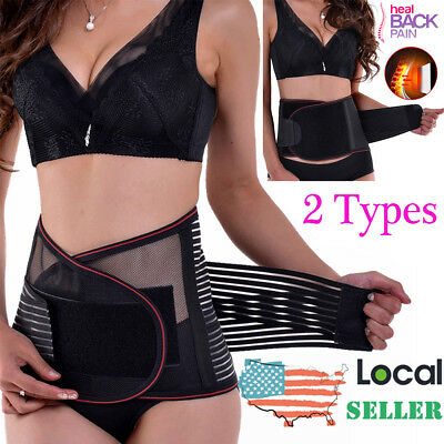 Double Pull Lower Back Support Brace Lumbar Waist Belt Removable Magnetic Pad US