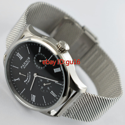 Parnis 42mm Black dial date power reserve seagull automatic mens watch 2460