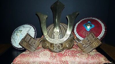 Vintage Bronze and Brass Mini Kabuto Samurai Helmet with accessories