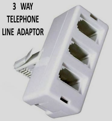 3 Way Telephone Line Adaptor Triple Socket Phone Socket Splitter 4 WIRE - W271