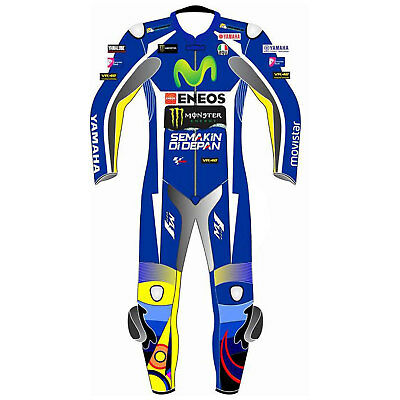 Yamaha Movistar Eneos Motorbike, Motorcycle Leather blue suit with Protections