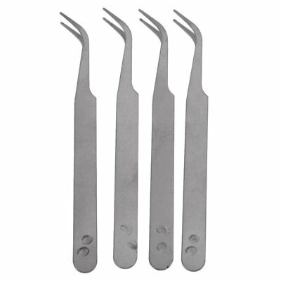 New Professional Metal Bent Tip Tweezers Removal Grooming Slanted Tip Remov K1N8