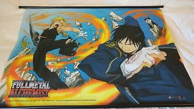 "Fullmetal Alchemist Ed Vs. Roy Large Fabric Wallscroll 41"" X 30"" GE-9597 2004"