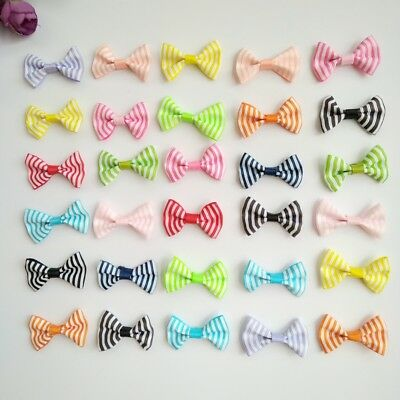 10pcs 1.4Inch Tiny Hair Bows Clips Fully Lined for Baby Girls Fine Hair Infants