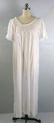 Antique 20s 30s White French Inset Lace Cotton Batiste Nightgown Dress M/L