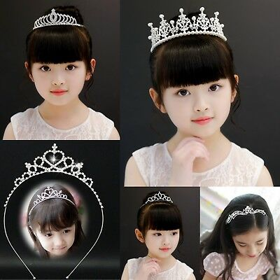 Kids Children Crystal Rhinestone Wedding Bridal Crown Tiara Headband UK Stock