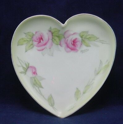 Bavarian Heart Shape Porcelain Pin Dish Hand Painted Rose Design Antique