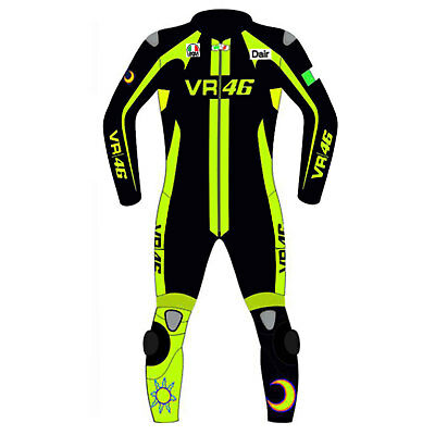 VR46 Motorcycle, Motorbike Rider's Racing Leather Suit for Men
