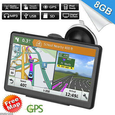 "7"" Car GPS Navigator Navigation Mirror Touch Screen 8GB 128M Sat Nav FM+Free Map"