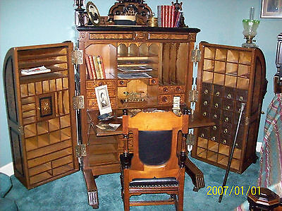 Antique Wooton Desk Extra Grade Patent Secretary Desk Original hardware