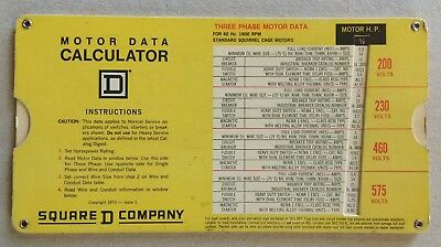 Square D Motor Data Calculator Slide Chart 1972